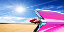 Pink Cadillac On Beach