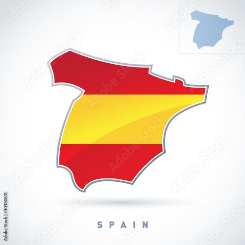 Fotografie, Tablou  Stylized map of Spain. Vector. Editable.