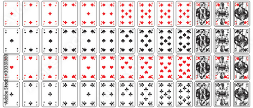 Fotografie, Obraz Spielkarten herz, karo, pik, kreuz set