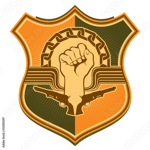 Illustrated crest with strong fist. Fototapet