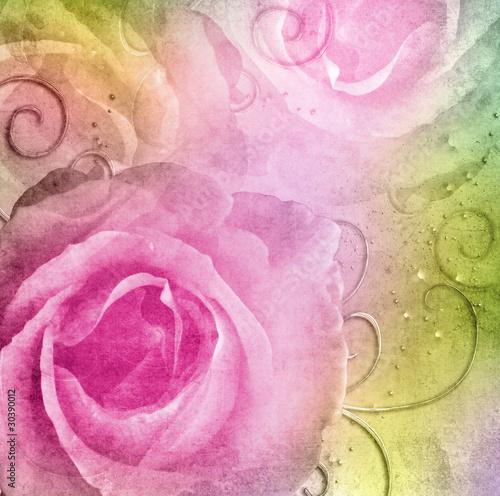 Keuken foto achterwand Retro Grunge shabby Roses Background ( 1 of set)