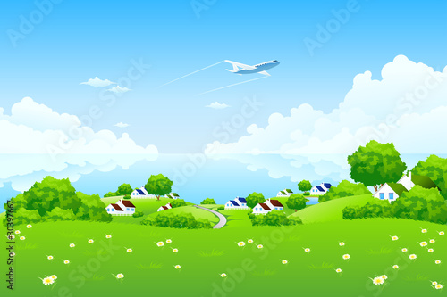 In de dag Vliegtuigen, ballon Green Landscape with aircraft