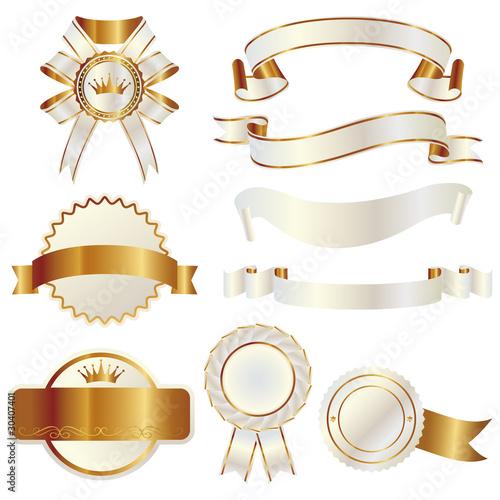 set of gold and white ribbon Fotobehang