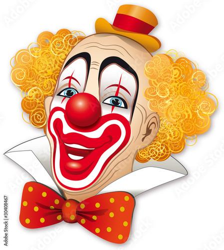 Foto-Stoff - Clown con i capelli rossi su fondo bianco (von dunadicarta)