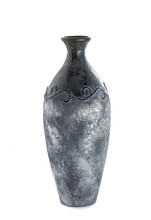 Black Vase With Silver Patina