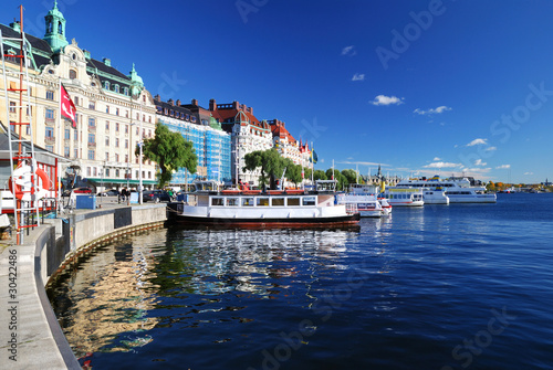 Photo  Wide view on the harbor part of Stockholm city. Sweden