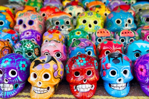 Fototapety, obrazy: Aztec skulls Mexican Day of the Dead colorful