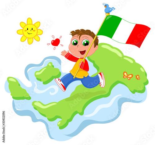 L Italia Cartina.Viva L Italia Bimbo Felice Con Bandiera E Cartina Italiana Stock Illustration Adobe Stock