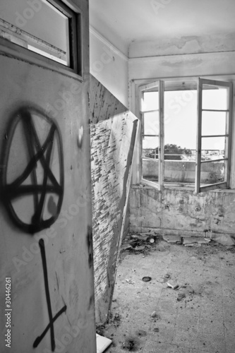 Satanic Symbols On The Door Of An Abandoned House Buy This Stock
