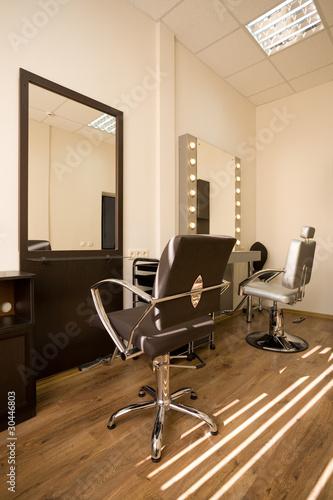 Modern salon make-up artist and hairdresser.