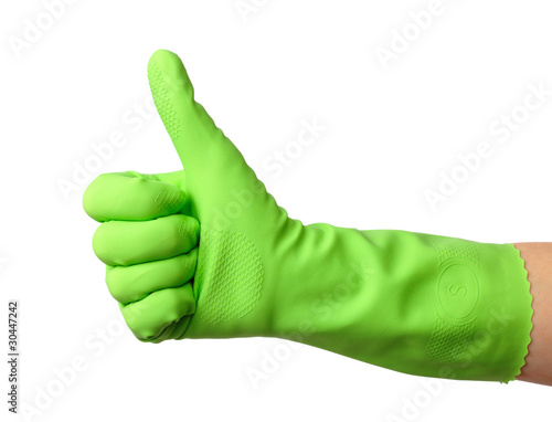 Valokuva  Hand wearing rubber glove shows thumb up sign