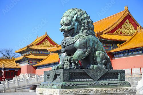 Tuinposter China Detail in Forbidden City (Palace Museum) in China: bronze lion,