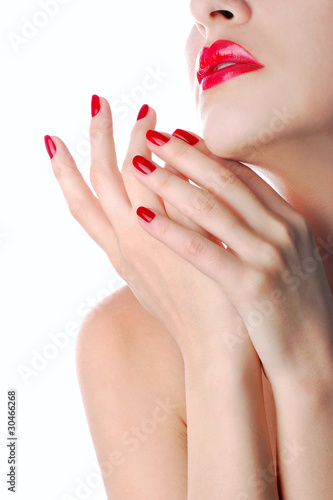 Staande foto Manicure Red lips and manicure