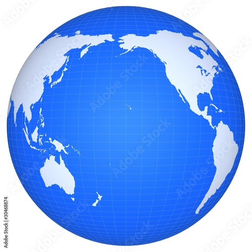 Fotografia The globe of Pacific ocean isolated on a white background.