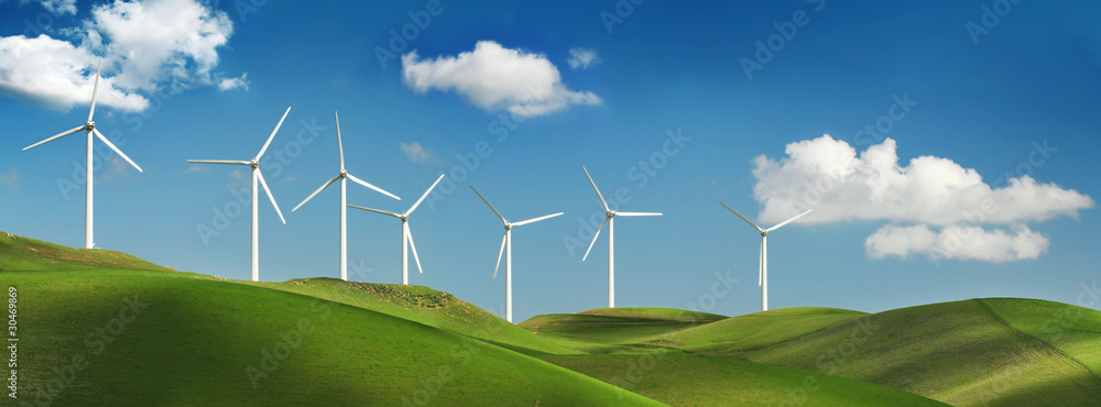 Fototapety, obrazy: Wind turbines on green hills