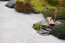 A Rake In Japanese Garden