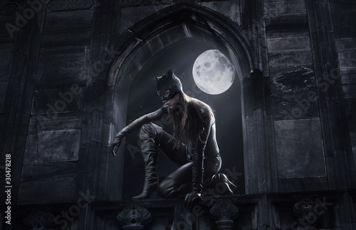 Beautiful catwoman hunting at night Wallpaper Mural
