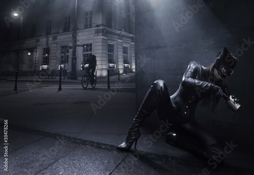 Fotomural Catwoman hunting on the night city background
