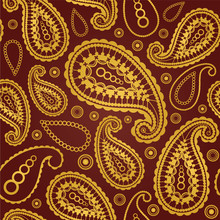 Seamless Gold And Brown Paisley Pattern