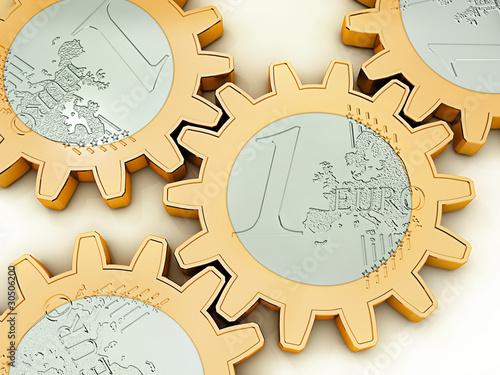 Fotografie, Obraz  Euro-Zahnrad