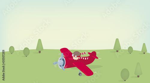 Papiers peints Avion, ballon Landing plane. Vector illustration.