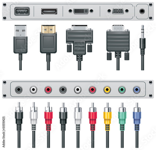 Photo  Vector video and audio connectors
