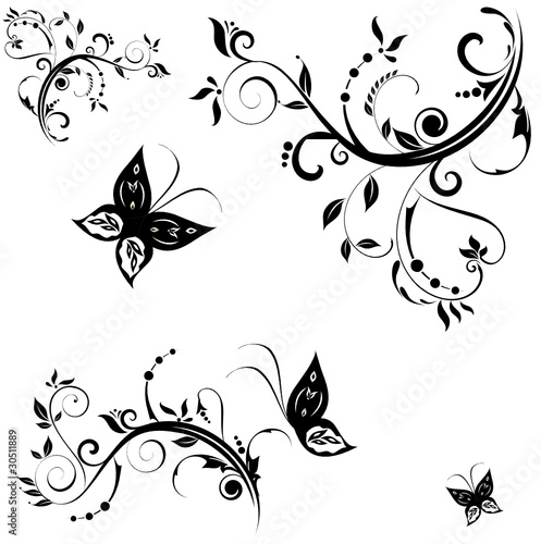 Photo sur Toile Papillons dans Grunge stylized butterflies and plants (B&W). vector illustration.