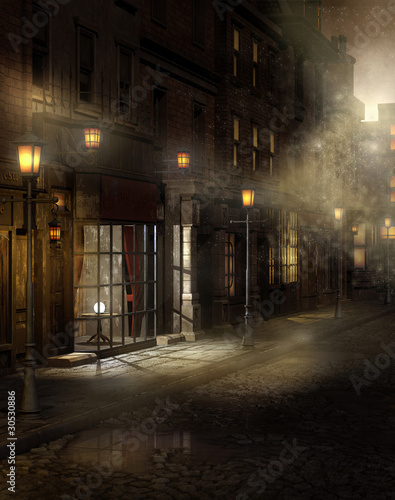 wiktorianska-ulica-noca-we-mgle