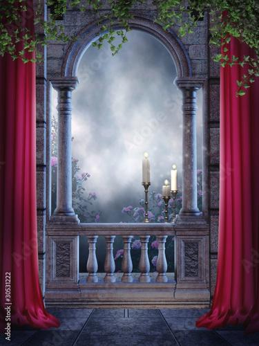 Fototapeta Gotycki balkon z zasłonami i świecami obraz