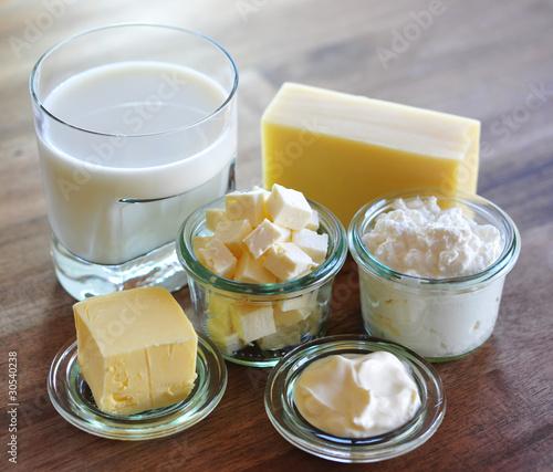 Staande foto Zuivelproducten Quark, Butter