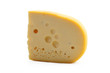The cheese piece is isolated on a white background