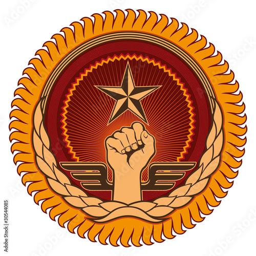 Illustrated emblem with retro elements. Tablou Canvas