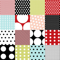 Fototapeta Mozaika seamless patterns, polka dot set
