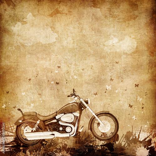 retro-motocykl-na-teksturze-starego-zzolknietego-papieru