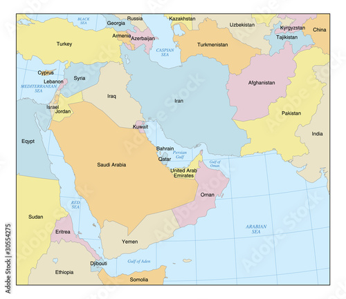 Middle East Map with Countries & Labels - Buy this stock vector and on map of the middle east with names, map of east asia with labels, map of the middle east with flags, map of north africa and south west asia political, map of the usa with labels, map of east europe with labels, map of asia labeled,