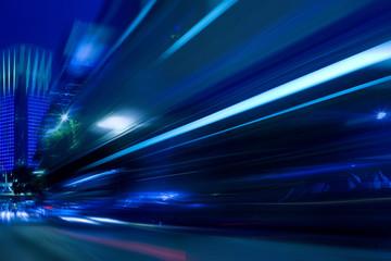 speeding car trials at night