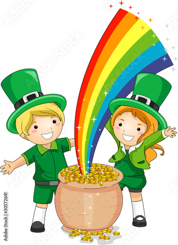 Tuinposter Regenboog Kids Standing in Front of a Pot of Gold
