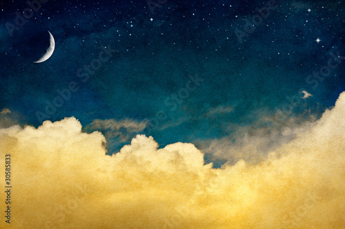 Fotobehang - Moon and Cloudscape