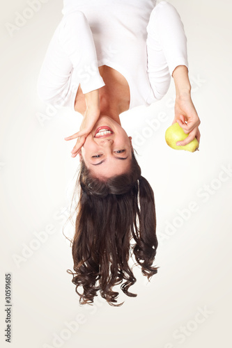 Fototapety, obrazy: Girl with pear