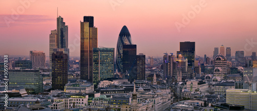 Aluminium Prints London City of London at twilight