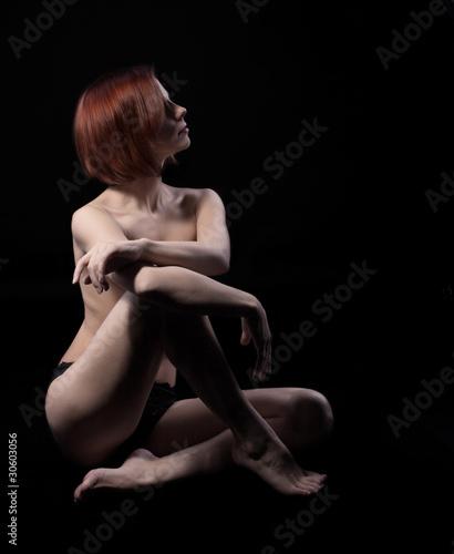 Poster Akt Beauty nude woman sit on black