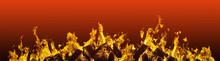 Abstract Arrangement Fiery Red  Blazing Flames Fire Border