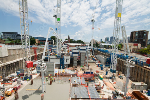 Printed kitchen splashbacks Australia construction site with a few cranes at early stage
