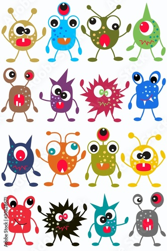 Tuinposter Schepselen seamless monster pattern