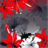 Background with red lily flowers