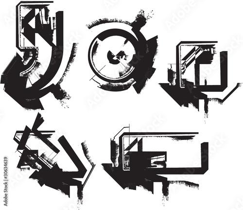 In de dag Cartoon draw Grunge font