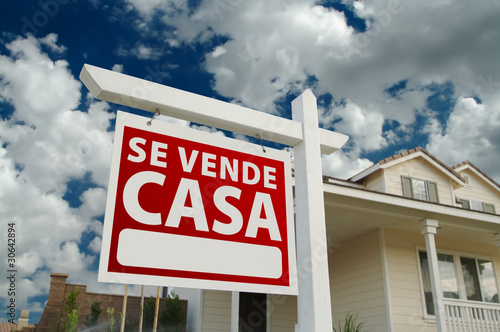 Photo  Se Vende Casa Spanish Real Estate Sign and House