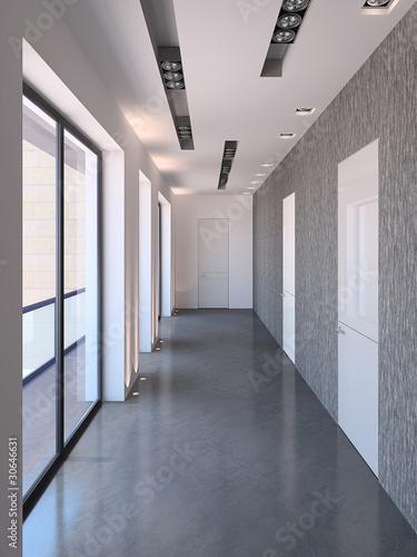 Staande foto Industrial geb. Long modern corridor