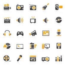 Orange Entertainment Hotel Icons - Set 11
