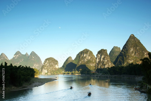 Li river dusk yangshuo china